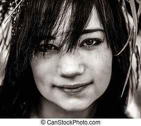 Portrait of brunette teen girl