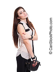 Portrait of brunette with handbag