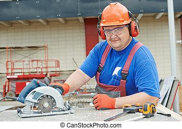 Portrait of builder worker at construction site
