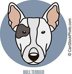 Portrait of Bull Terrier. Vector illustration in style of...