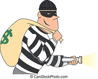 Portrait of Burglar holding bag of money - Smiling thief...
