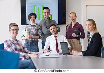 portrait of business people group at modern office meeting ...