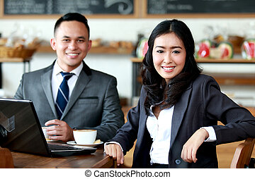 business people meeting at coffee shop
