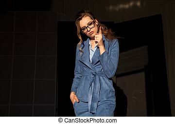 Portrait of business woman in a business suit work Office