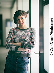 portrait of business woman in casual clothes at startup office