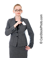Portrait of business woman in glasses with a credit card