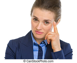 Portrait of business woman pointing on fact
