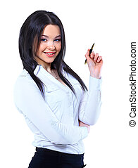 Portrait of business woman pointing to something