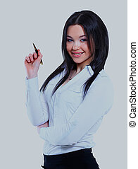 Portrait of business woman pointing to something.
