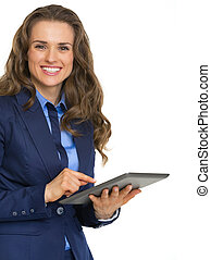 Portrait of business woman using tablet pc