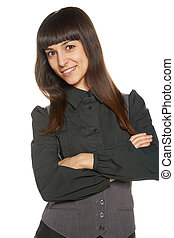 Portrait of business woman with folded hands