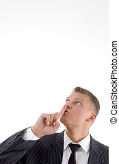 businessman asking to keep silent - portrait of businessman...