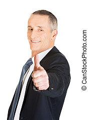 Portrait of businessman gesturing ok sign