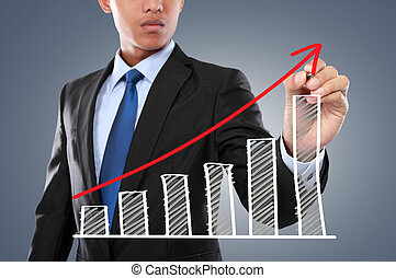 businessman hand drawing virtual chart