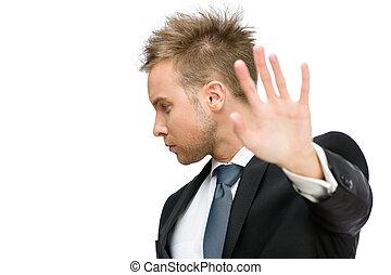 Portrait of businessman stop gesturing
