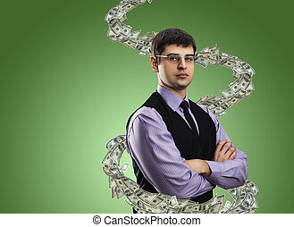 Portrait of businessman with money vortex