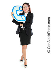 Portrait of businesswoman holding sign of telephone