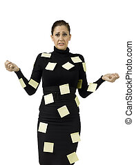 businesswoman with many post it notes