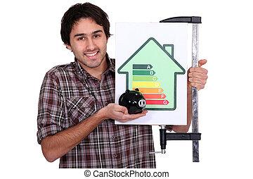 portrait of carpenter all smiles
