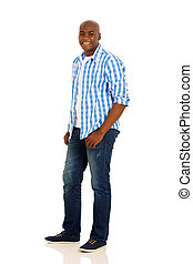 young african man standing on white