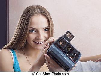 Portrait of Caucasian Blond Female Wearing Dental Bracket System