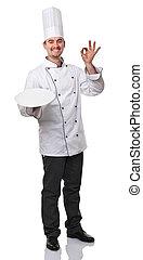 chef - portrait of caucasian chef on white