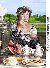 Portrait of Caucasian woman with tea