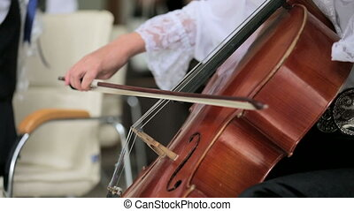 Portrait Of Cellist Playing Classical Music On Cello