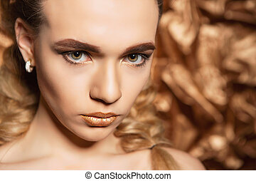 Portrait of charming blonde.