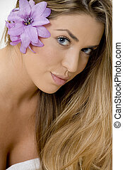 portrait of charming blonde woman