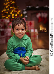Portrait of charming boy in the Christmas scenery