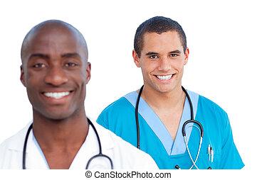Portrait of charming male doctors