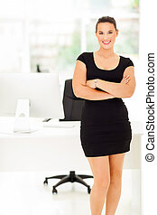 cheerful corporate worker in office