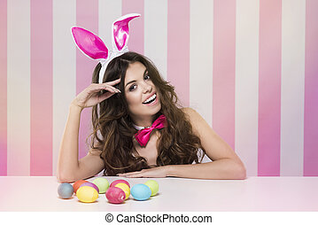 Portrait of cheerful easter bunny