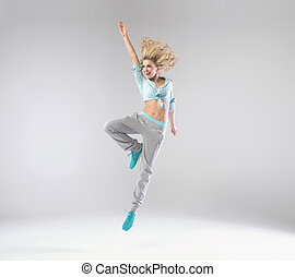 Portrait of cheerful jumping woman