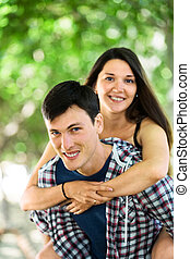 Portrait of cheerful loving couple