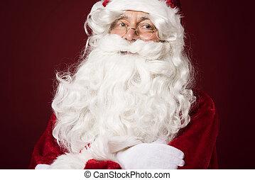 Portrait of cheerful santa claus in the studio
