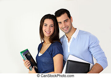 Portrait of cheerful students smiling at camera