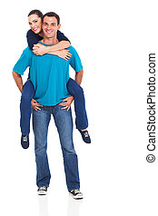 cheerful young couple piggyback
