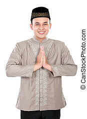 cheerful young muslim man - portrait of cheerful young...