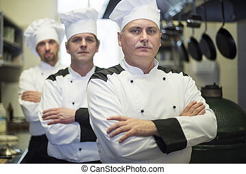 Portrait of chefs is a row