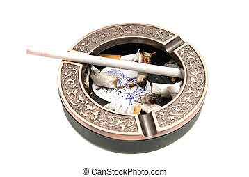 portrait of child and butts in ashtray