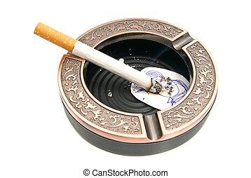 portrait of child and cigarette