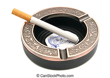 portrait of child and cigarette in metal ashtray