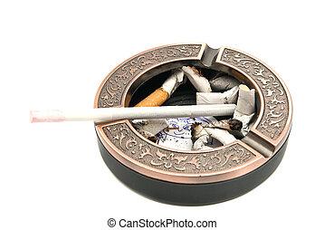 portrait of child in ashtray with cigarette