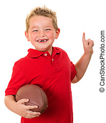 Portrait of child with football - Portrait of happy child...