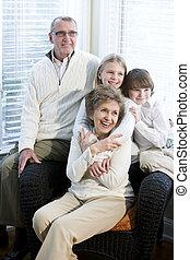 Portrait of children with grandparents