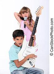 portrait of children with music instruments