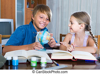 Portrait of children with textbooks and notes - Portrait of ...