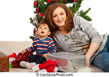 Portrait of Christmas family